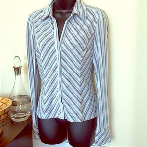 Express, sz M, striped, fitted button up